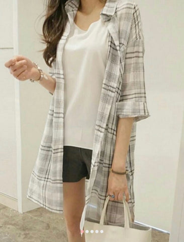 Cotton check pattern long shirts