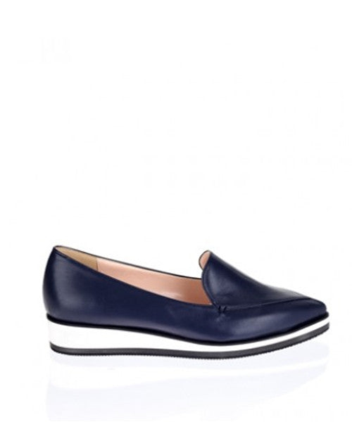 navy 3cm Two-stage sponge loafers IS5046  WOMEN'S LADIES PREMIUM HANDMADE SHOES
