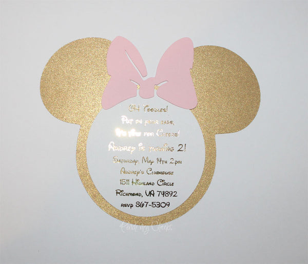Minnie Pink and Silver Glitter Birthday Party Invitations