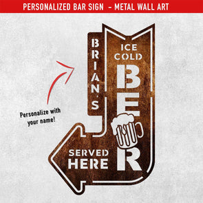 PERSONALIZED Cold Beer Metal Wall Sign (USA Made Steel - FREE USA Shipping)