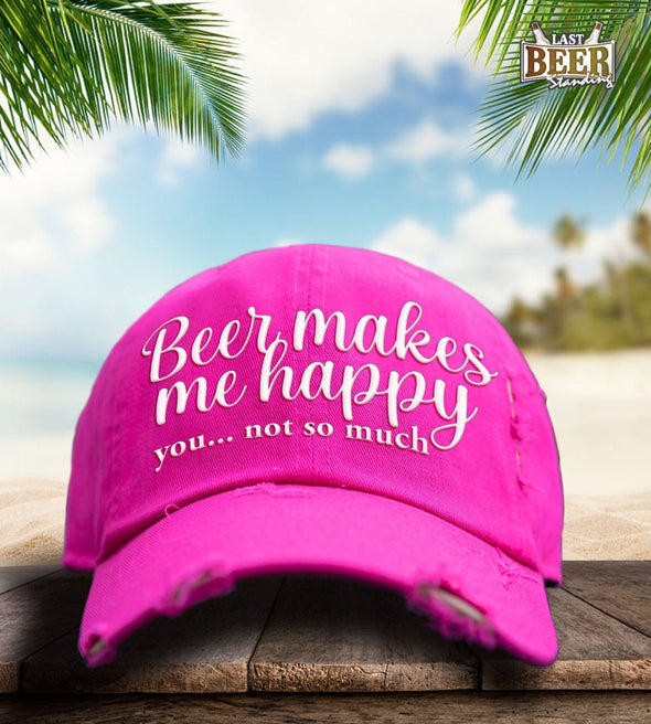 Beer Makes Me Happy Pink Cap - Last Beer Standing
