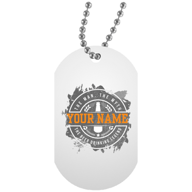 The-Beer-Legend-Personalized UN5588 White Dog Tag