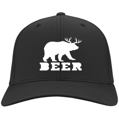 BeerBear Deer Flex Fit Twill Baseball Cap - Last Beer Standing