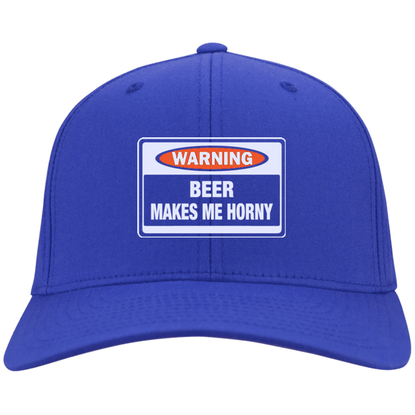 Warning Beer Makes Me Horny Flex Fit Twill Baseball Cap