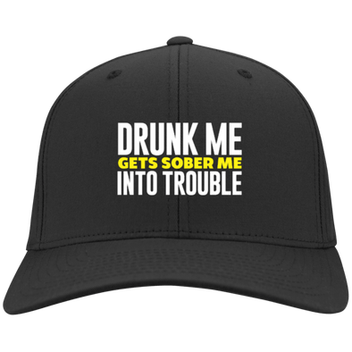 Drunk Me Gets Sober Me Into Trouble Flex Fit Twill Baseball Cap - Last Beer Standing