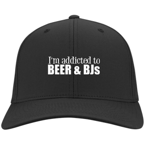 Addicted to Beer and BJs Flex Fit Twill Baseball Cap