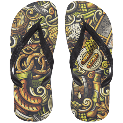 Crazy Beer Pattern Flip Flops