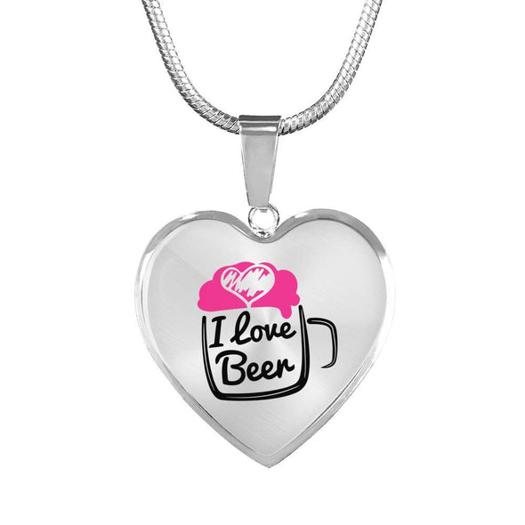 I Love Beer Heart Necklace