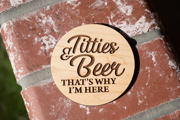 Titties & Beer Wooden USA Handmade + Laser Engraved 4-Pack Coasters With FREE Key Chain - Last Beer Standing