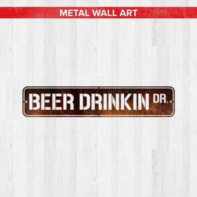 Beer Drinking Drive Metal Bar Sign (USA Made)