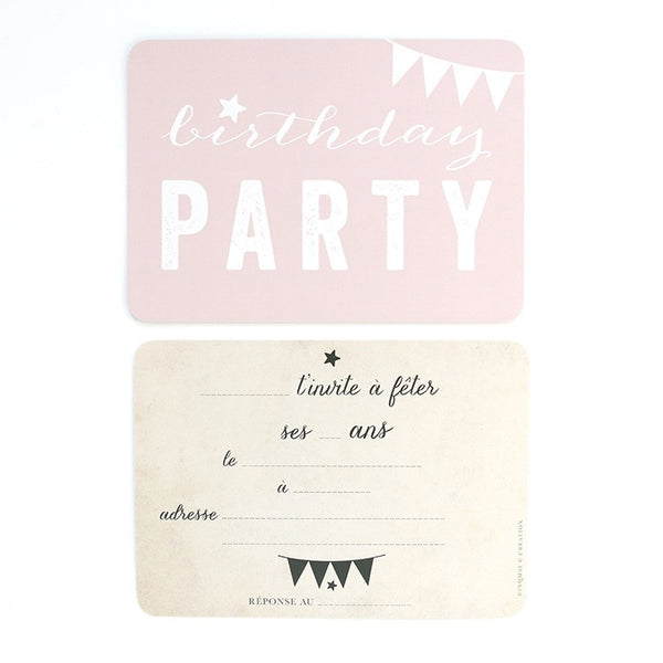 Birthday Party Invitations (3 Colours-5 in Pack)