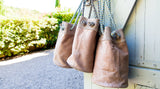 Urbaine Leather and Suede Handbag - Natural - 30cm x 19cm