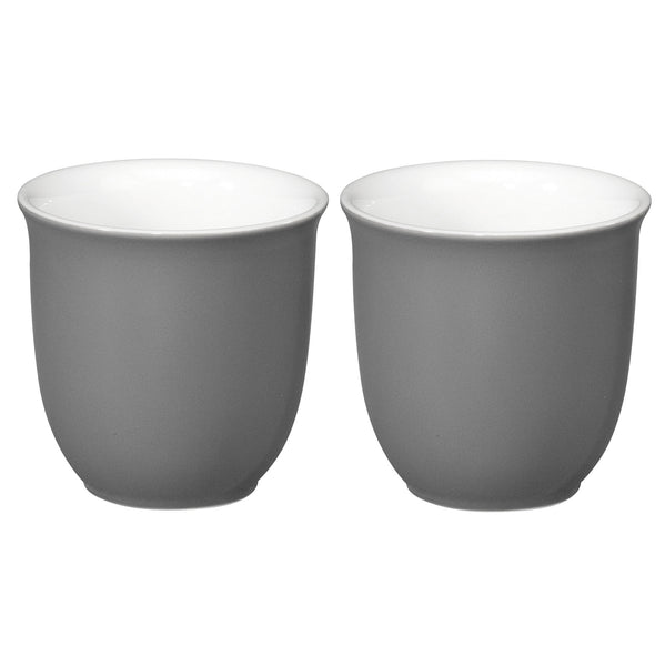 Japanese Teacups 0.20L - White - Grey (for 2)