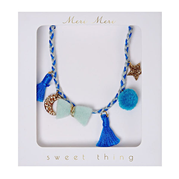 Necklace Blue Plaited