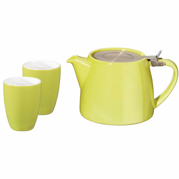 Stump Teapot  and Cups - Grey - White - Citron