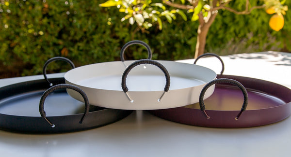 Stainless Steel Tray 35cm - Plum with black handles
