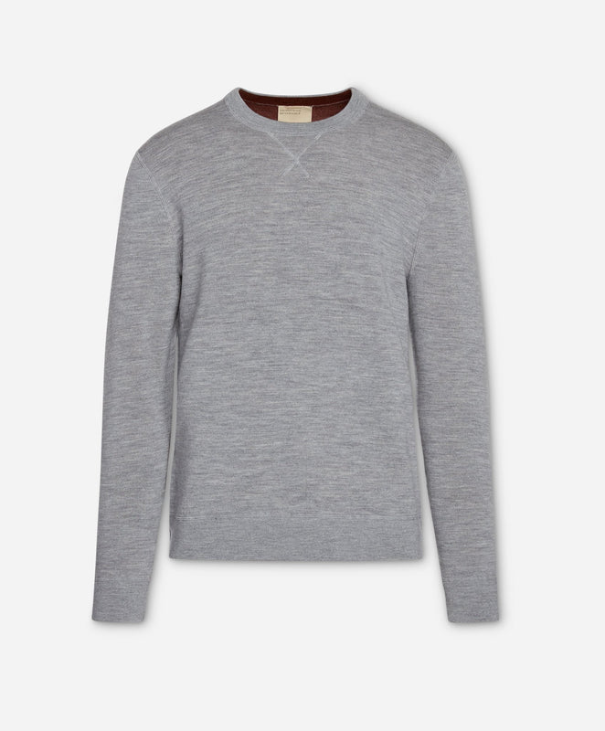 Bradley Reversible Crew - Heather Grey/ Auburn