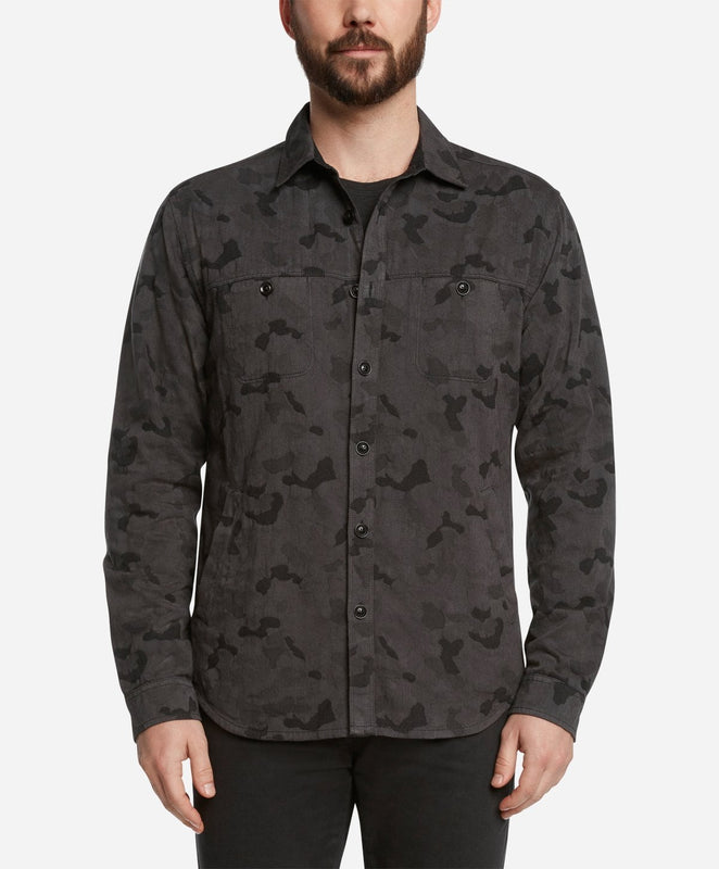 Camo Lightweight Shirt Jacket - Dark Grey