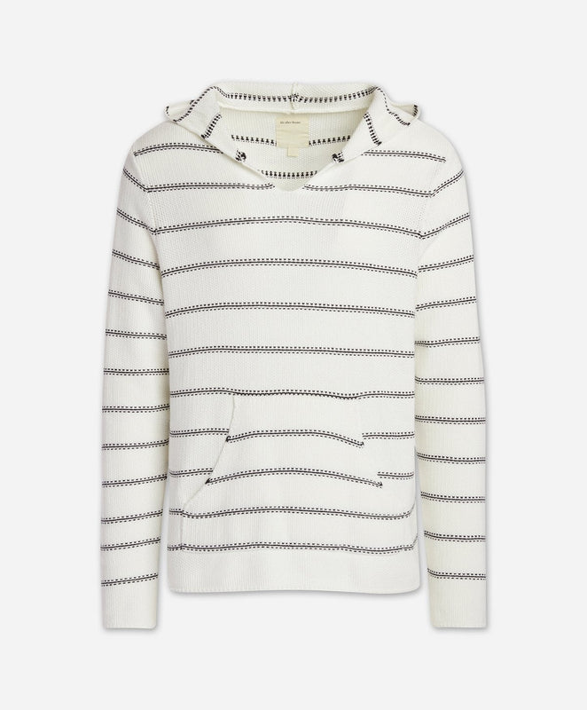 Cancun Striped Hoodie - White