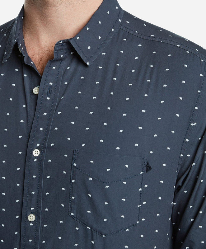 Grizzly Print Shirt - Navy