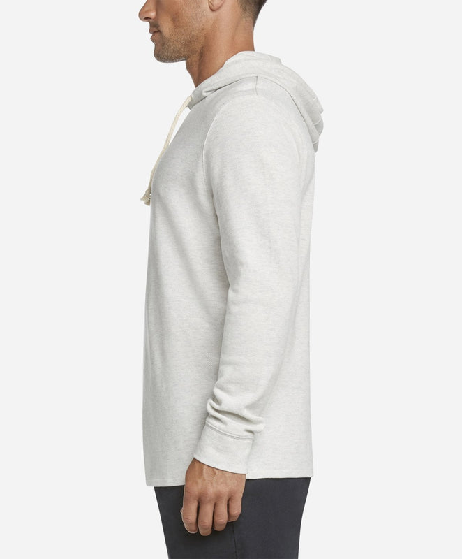 Heather Pique Hoodie - Heather White