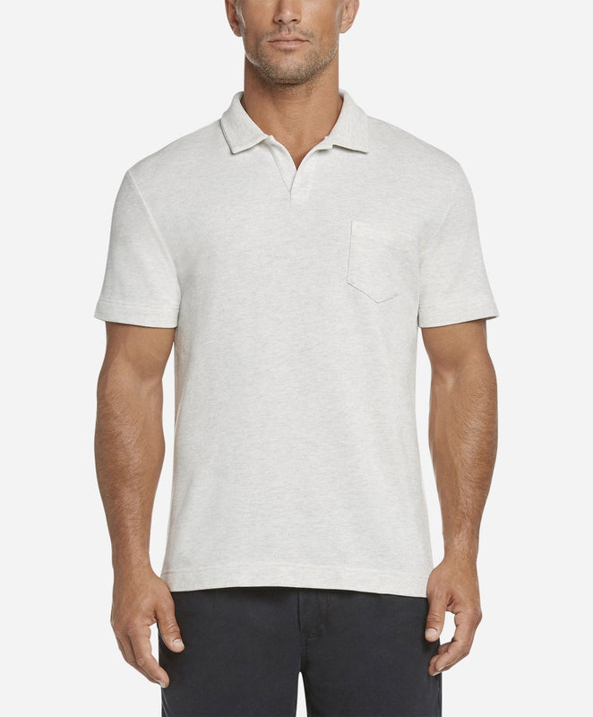 Short Sleeve Heather Pique Polo - Heather White