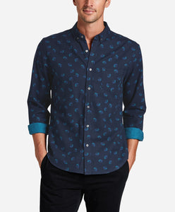 Hollyhock Print Shirt - Blue Blood