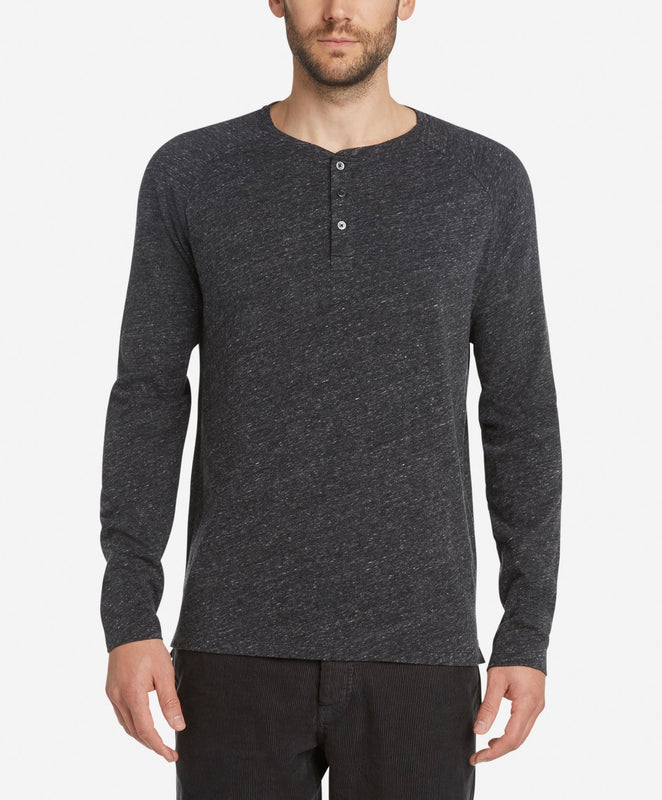 Long Sleeve League Henley - Heather Black