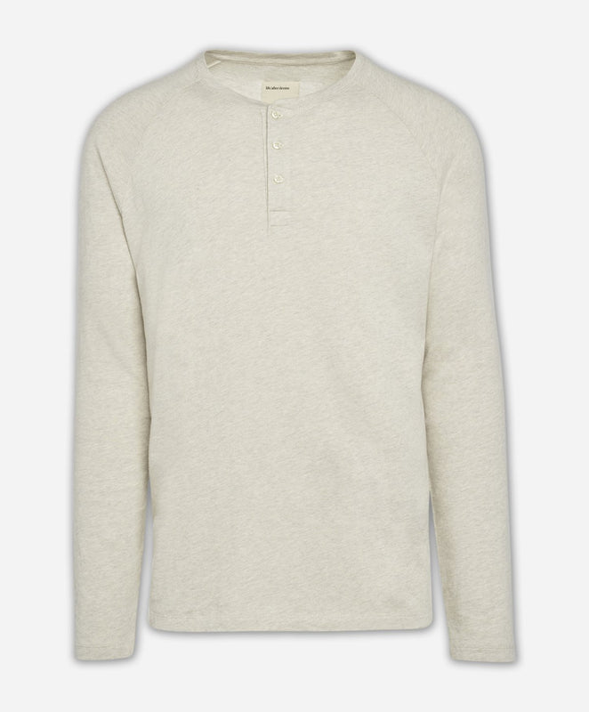 Long Sleeve League Henley - Heather Irish Cream