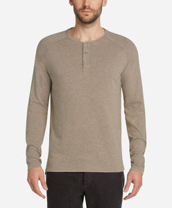 Long Sleeve League Henley - Heather Portobello