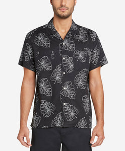 Short Sleeve Monstera Leaf Shirt - Black