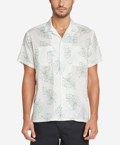 Short Sleeve Monstera Leaf Shirt - White