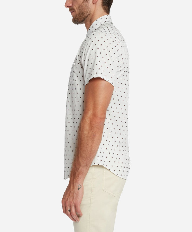 Short Sleeve Alameda Print Shirt - White