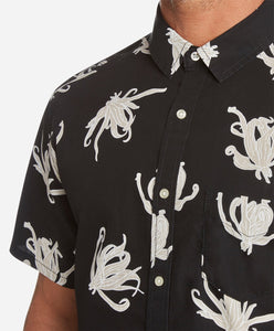 Short Sleeve Bloom Print Shirt - Black