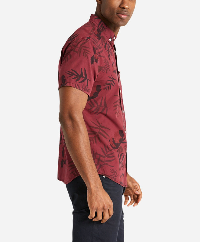 Short Sleeve Botanical Print Shirt - Wino