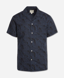 Short Sleeve Hawaiian Tropic Shirt - Navy