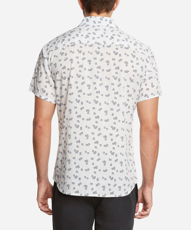 Short Sleeve Hibiscus Print Shirt - White