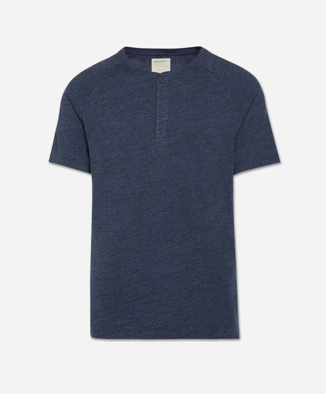 Short Sleeve League Henley - Heather Blue Blood