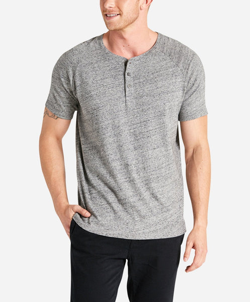 Short Sleeve League Henley - Heather Grey