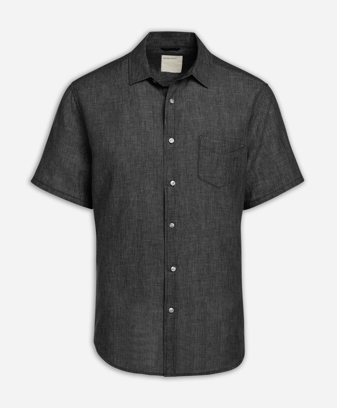 Short Sleeve Linen Shirt - Black