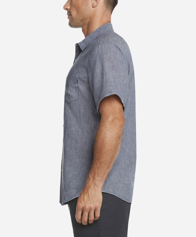 Short Sleeve Linen Shirt - Navy