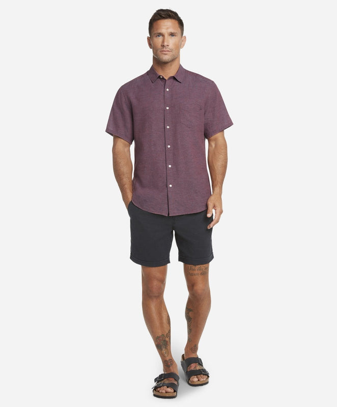 Short Sleeve Linen Shirt - Pink Lake