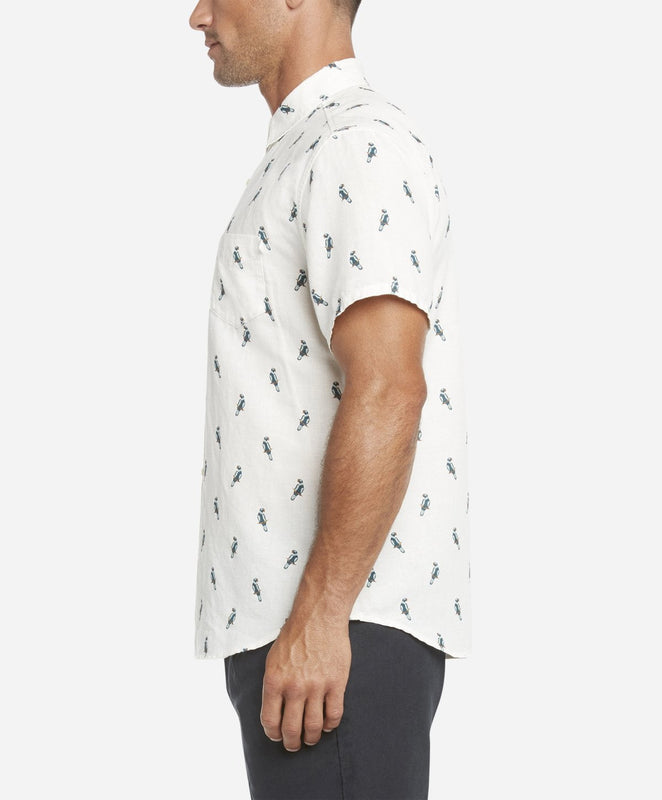 Short Sleeve Parrot Print Shirt - White