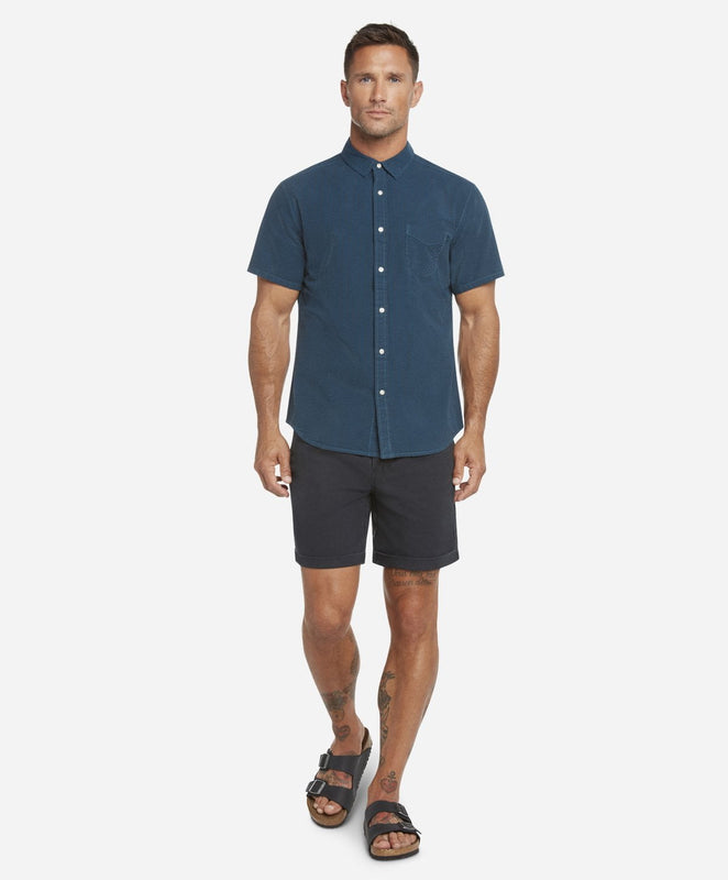Short Sleeve Seersucker Shirt - Turquoise Bay