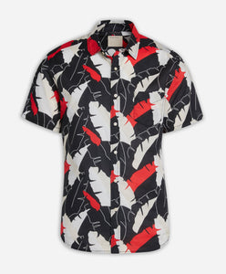 Short Sleeve Twin Palms Shirt - Black
