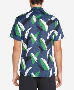 Short Sleeve Twin Palms Shirt - Ocean Blue