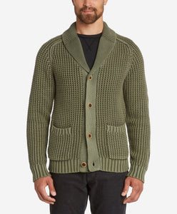 Waffle Shawl Collar Cardigan  -  Willow