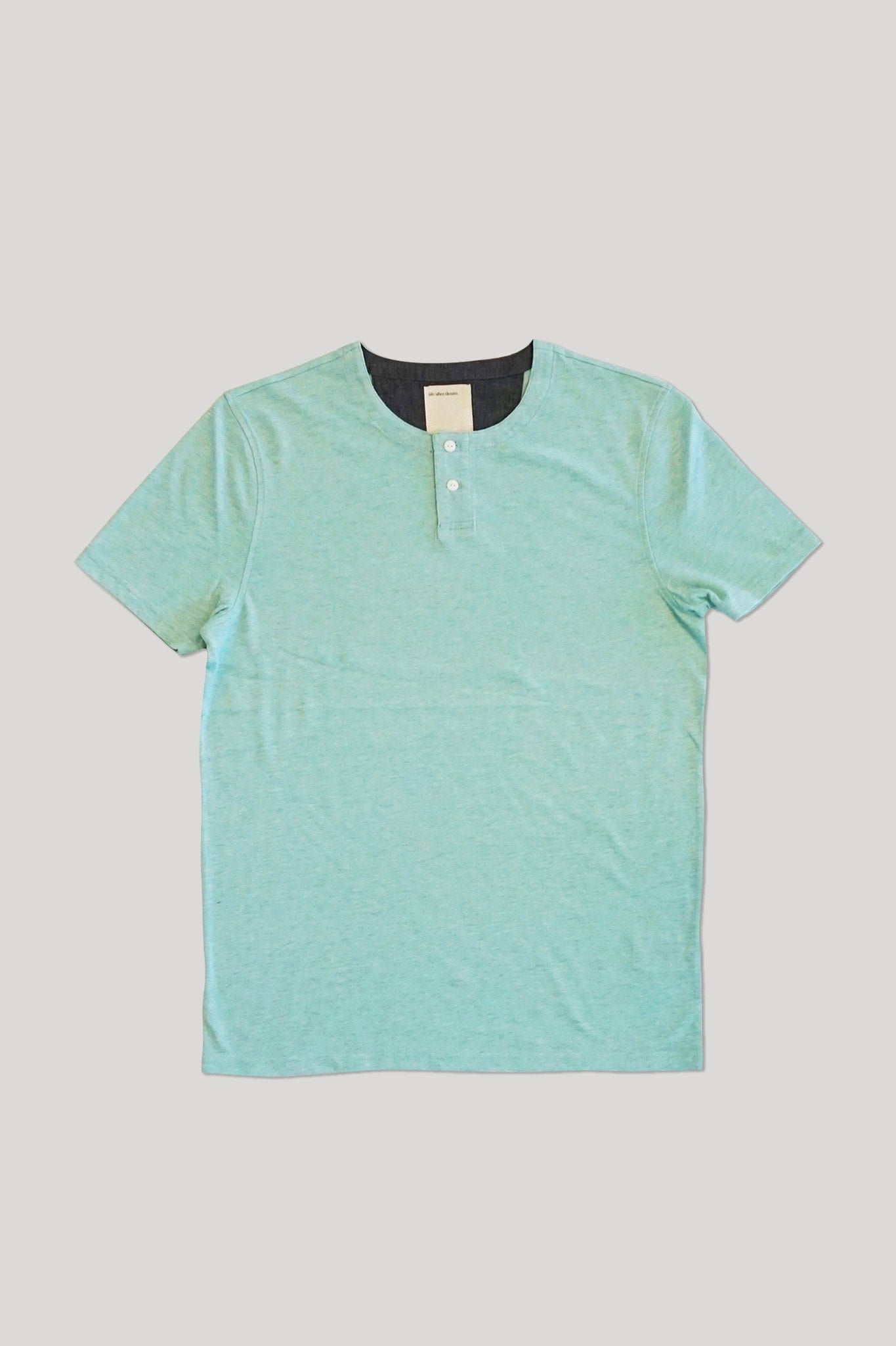S/S Hachiko Henley - Heather Mint