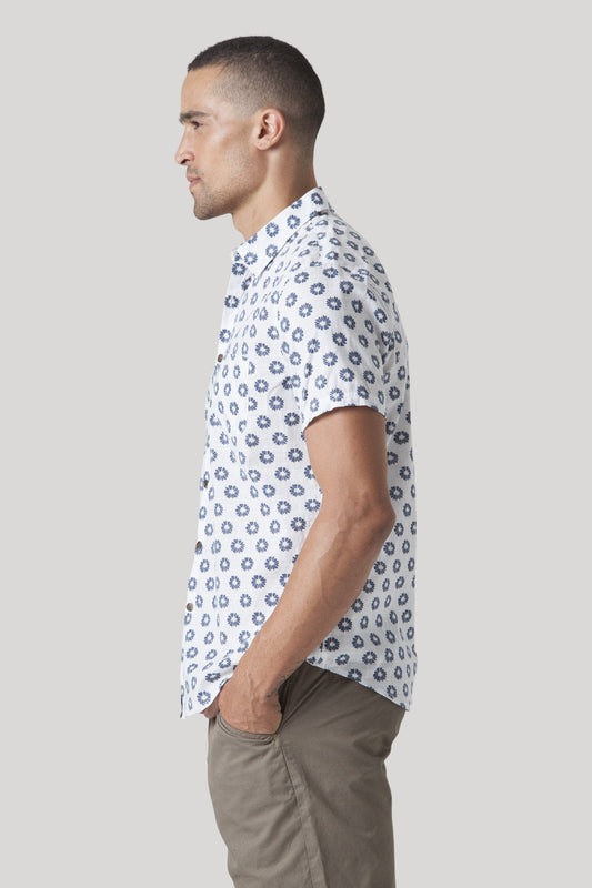 Short Sleeve Shibori Shirt - Whitewash