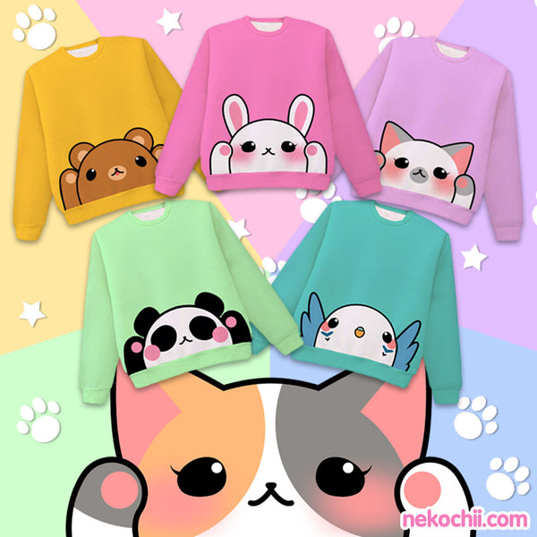 Kawaii Pounce bear bunny greypoint cat kitten panda budgie cute animal pullover sweaters by Nekochii